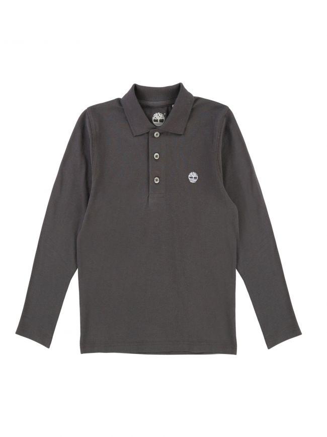 Dark Grey Long-Sleeved Polo Shirt