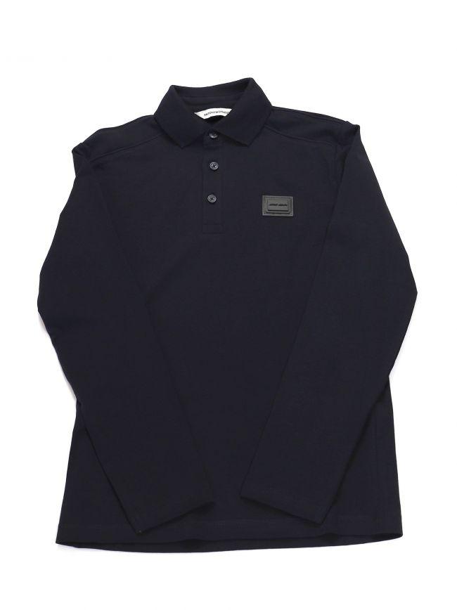 Antony Morato Kids Navy Plaque Long Sleeve Polo Shirt