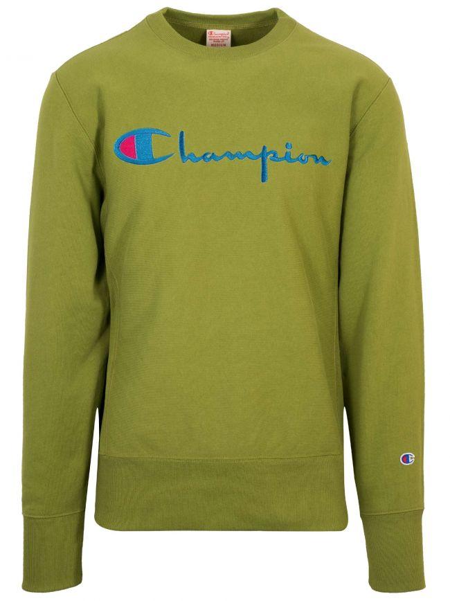 Reverse Weave Green Big Script Sweatshirt