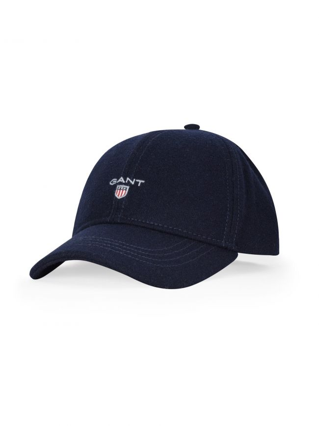 Navy Melton Wool Baseball Cap