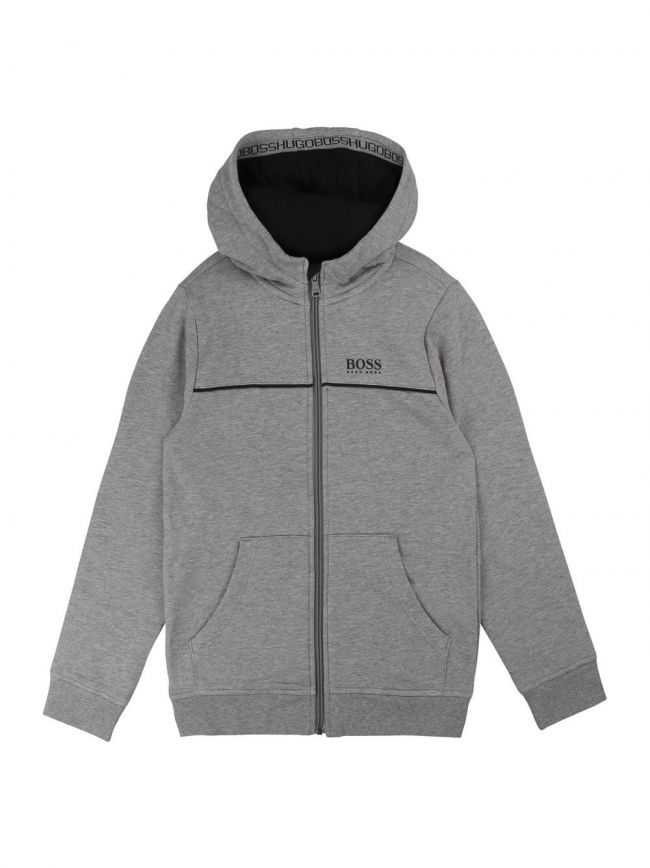 Grey Cotton Hooded Sweatshirt