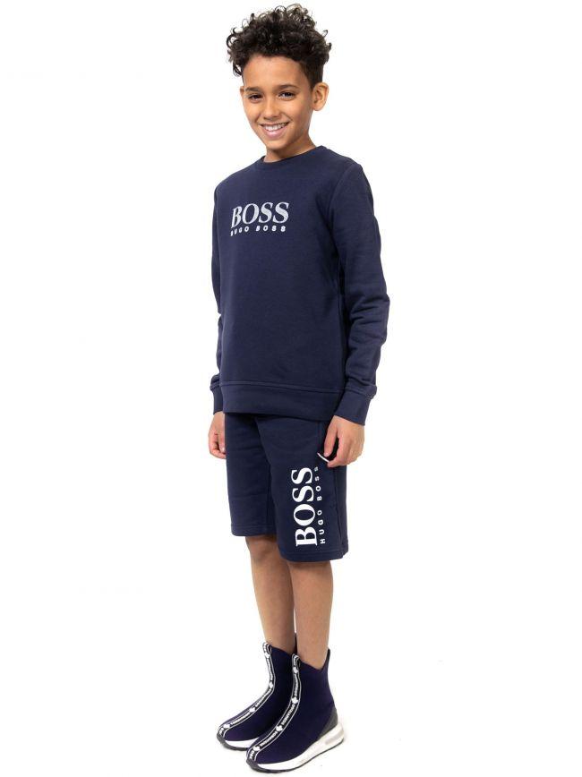 BOSS Kids Navy Bermuda Shorts