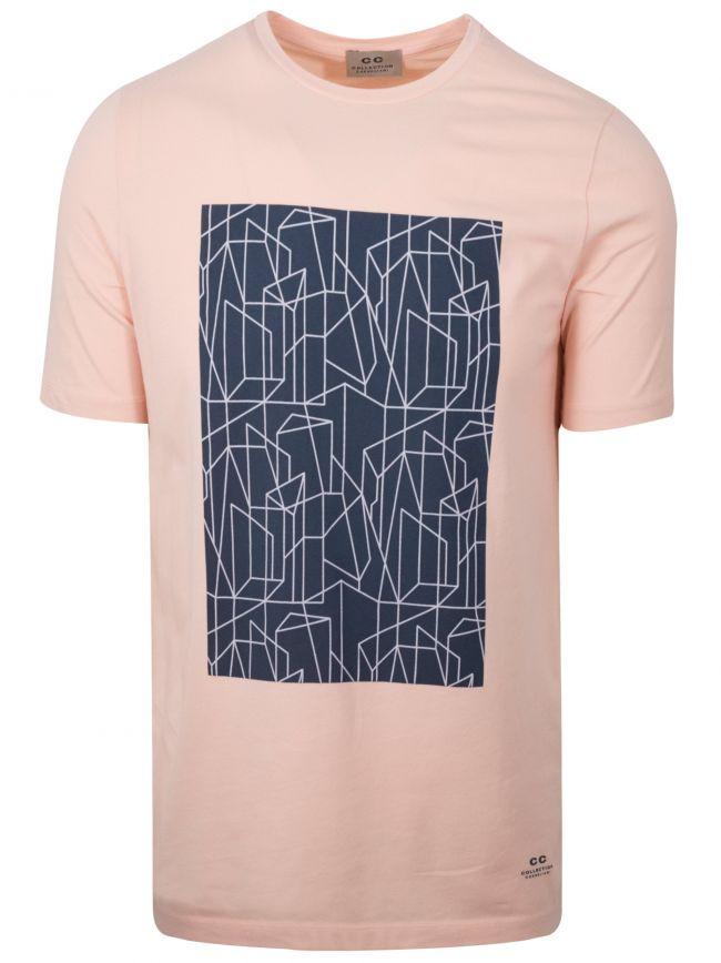 Peach Geometric Print Logo T-Shirt
