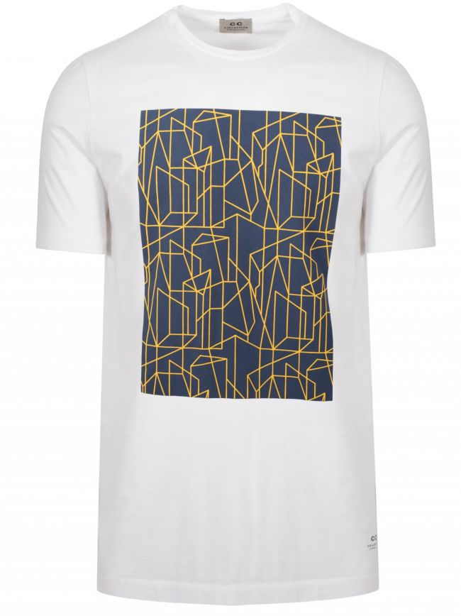 White Geometric Print Logo T-Shirt