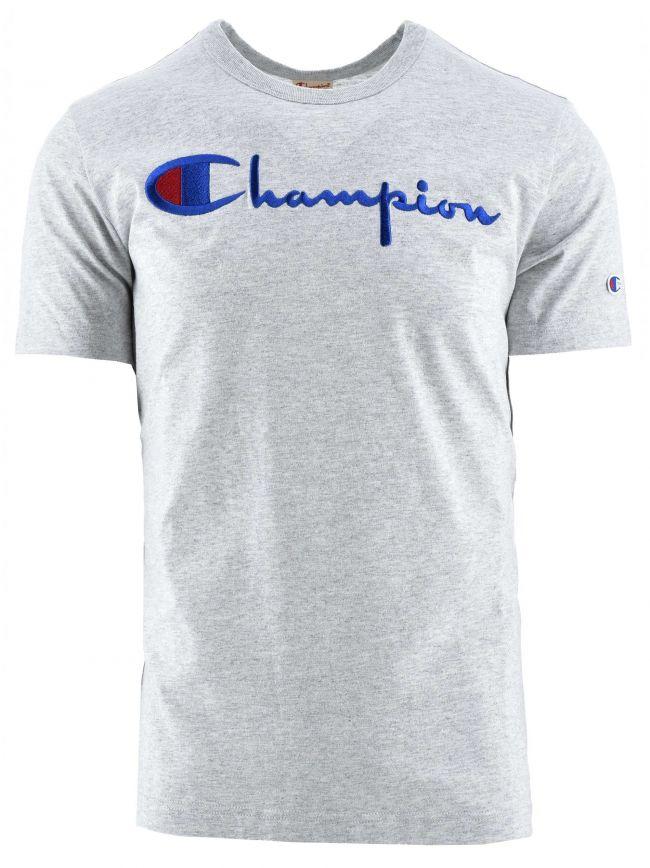 Reverse Weave Grey Big Script Logo T-Shirt
