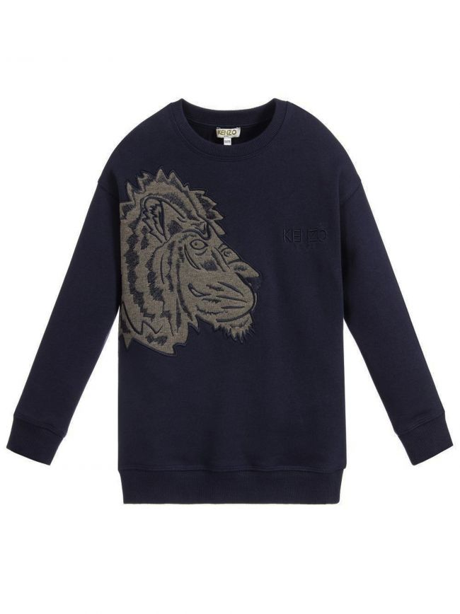 Side Tiger Logo Navy Blue Sweatshirt