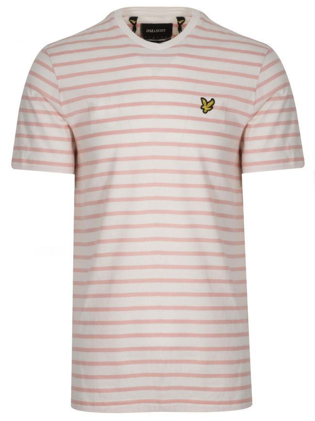 Coral & Cream Striped T-Shirt