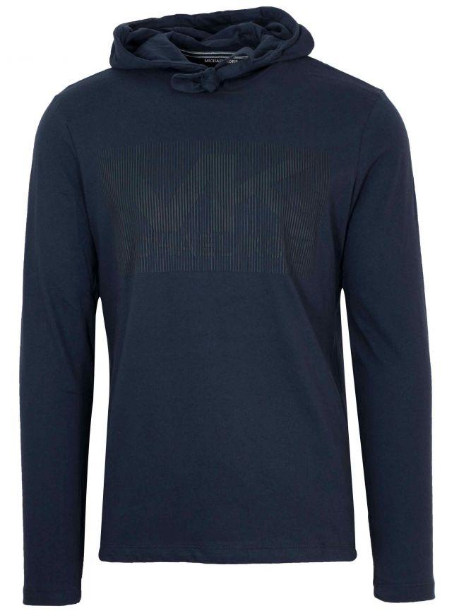 Navy Rubber Logo Hooded T-Shirt