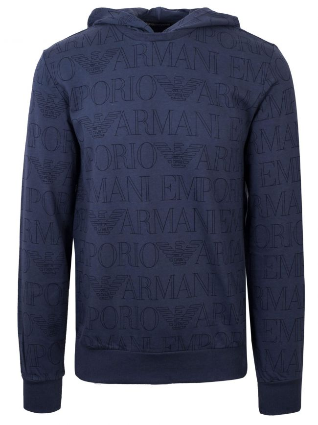 Navy Logo Hooded Sweatshirt