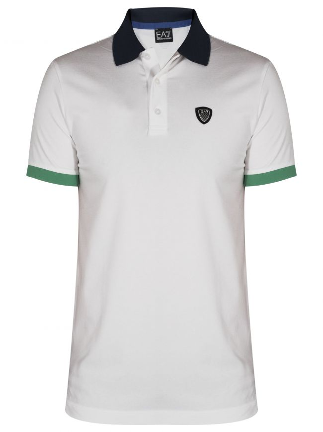 Two-Tone White Shield Polo Shirt