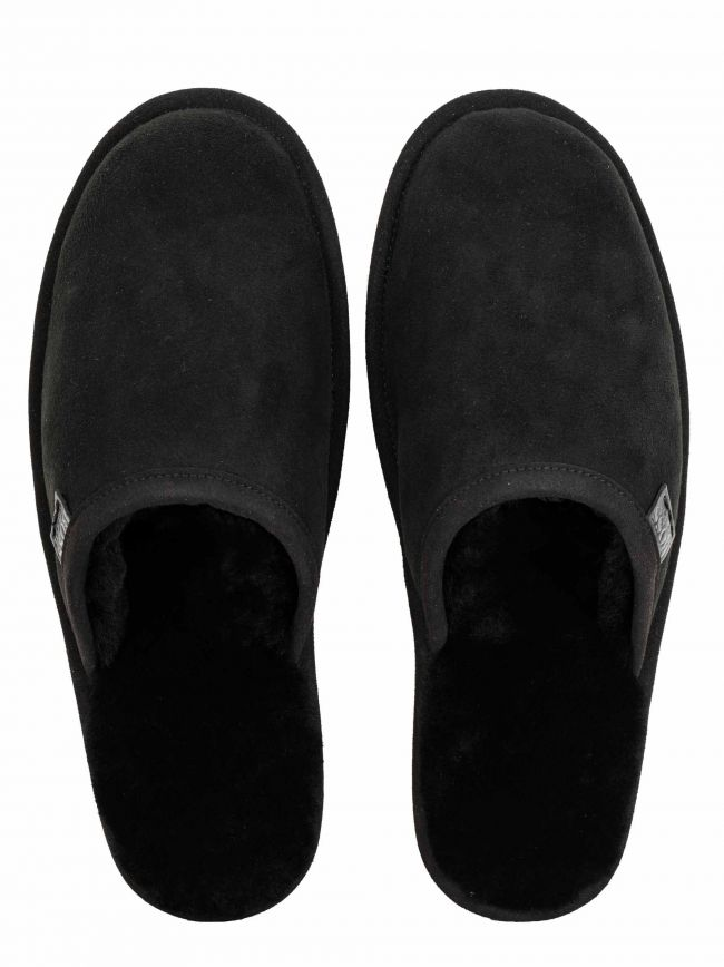 Black Lambskin Slippers