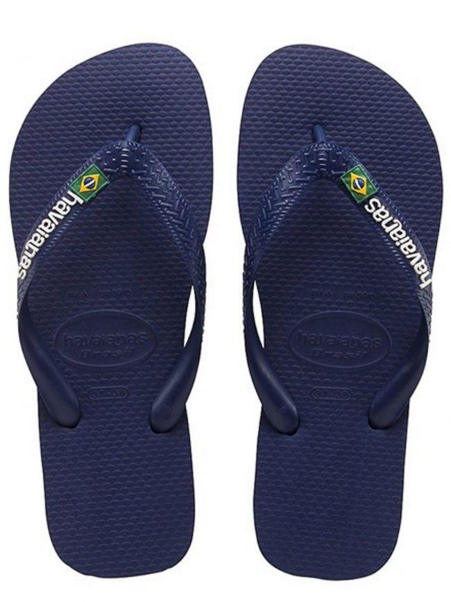 Marinho Navy Blue Brasil Logo Flip Flops