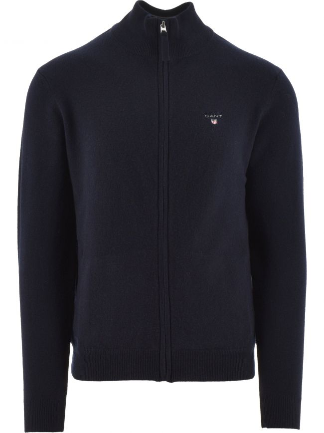 Super Fine Lambswool Full-Zip Navy Sweatshirt