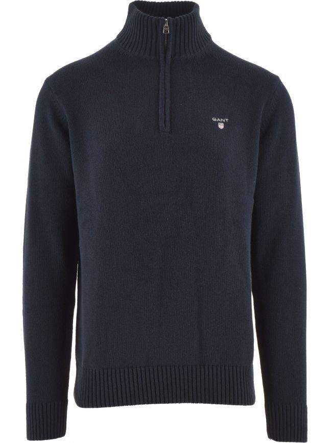 Blue Cotton Pique Half Zip Jumper