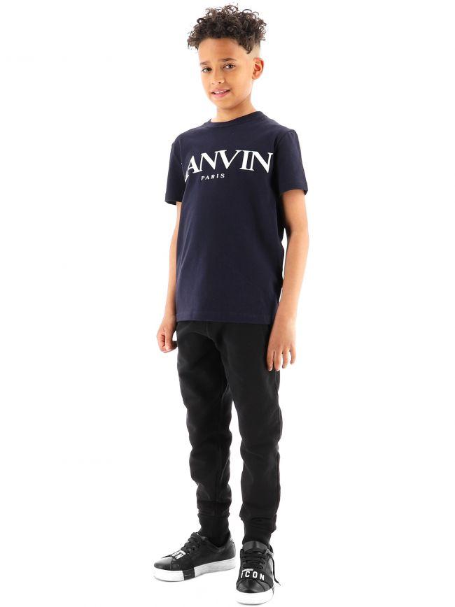 Lanvin Kids Navy Logo Cotton T-Shirt