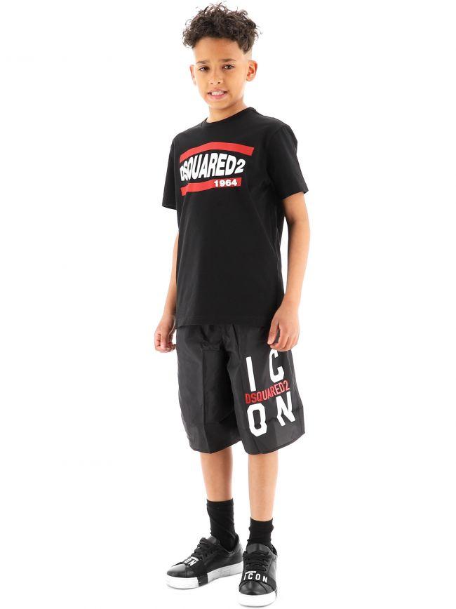 DSQUARED2 Kids Black Logo ICON Swim Short