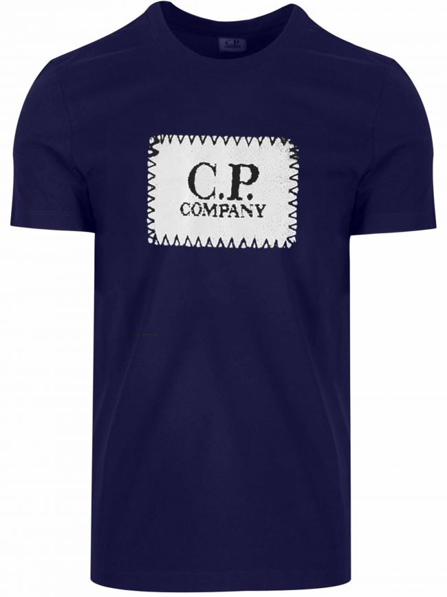 Indigo Blue Embroidered Print Logo T-Shirt
