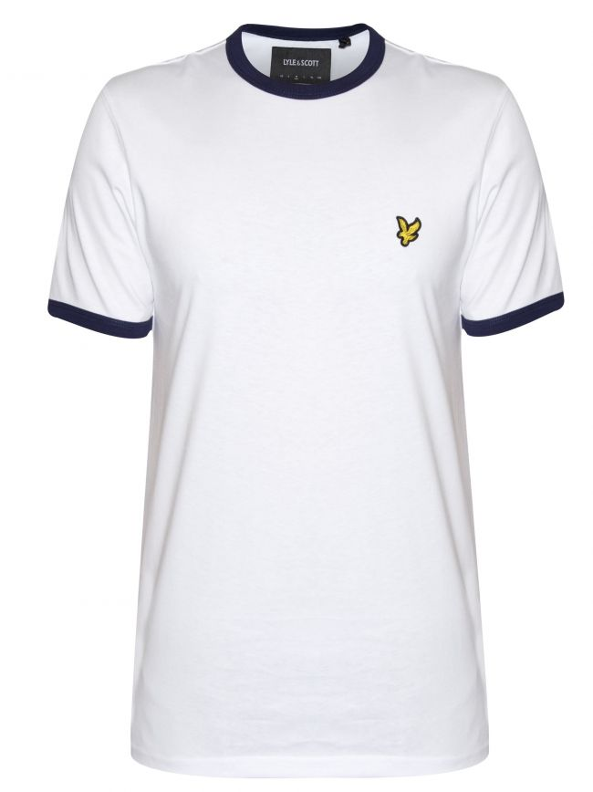 White & Navy Ringer T Shirt