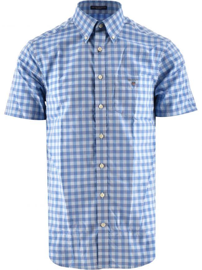 Blue Easy Care Gingham Check Shirt