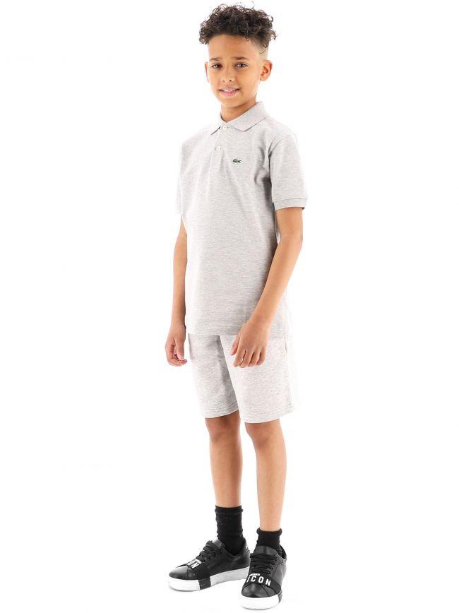 Lacoste Kids Grey Short Sleeve Ribbed Collar Polo Shirt
