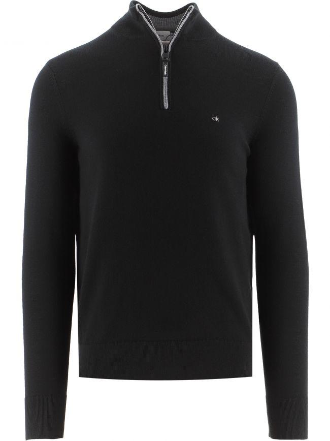 Black Superior Wool Quarter Zip Jumper