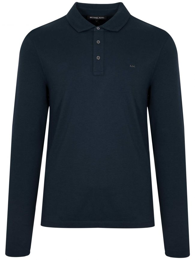 Navy Blue Long-Sleeve Polo Shirt