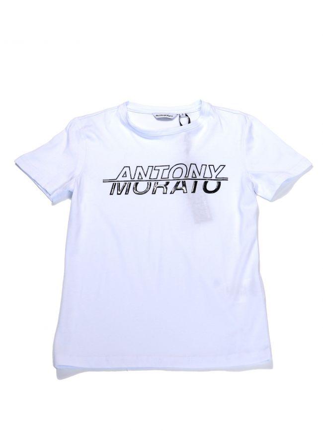 Antony Morato Kids White Half Sleeve Round Collar T-Shirt
