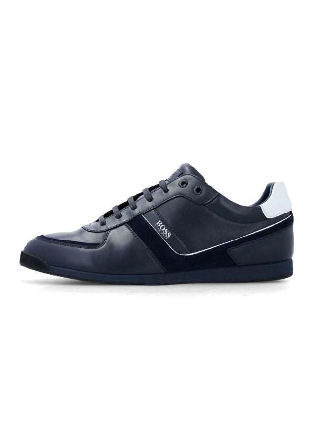 Dark Blue Leather Glaze Low Trainer