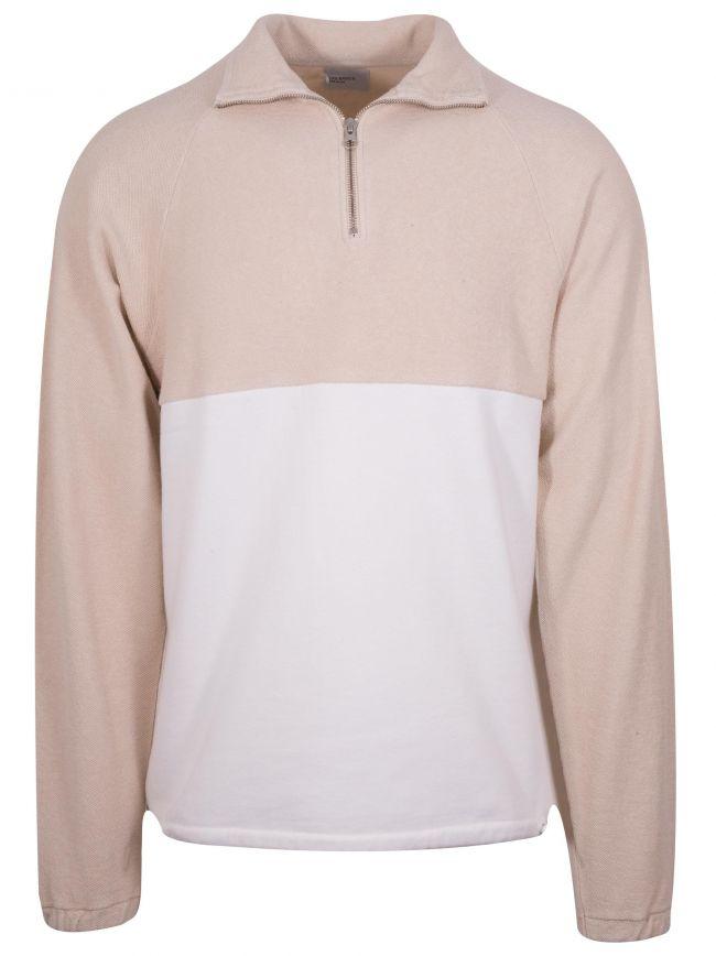 Beige & White Le Zip Sweat