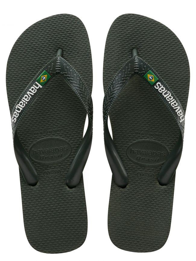 Olive Green Brasil Logo Flip Flops