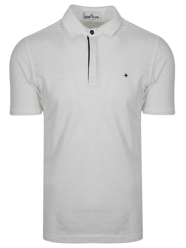 White Garment-Dyed Polo Shirt