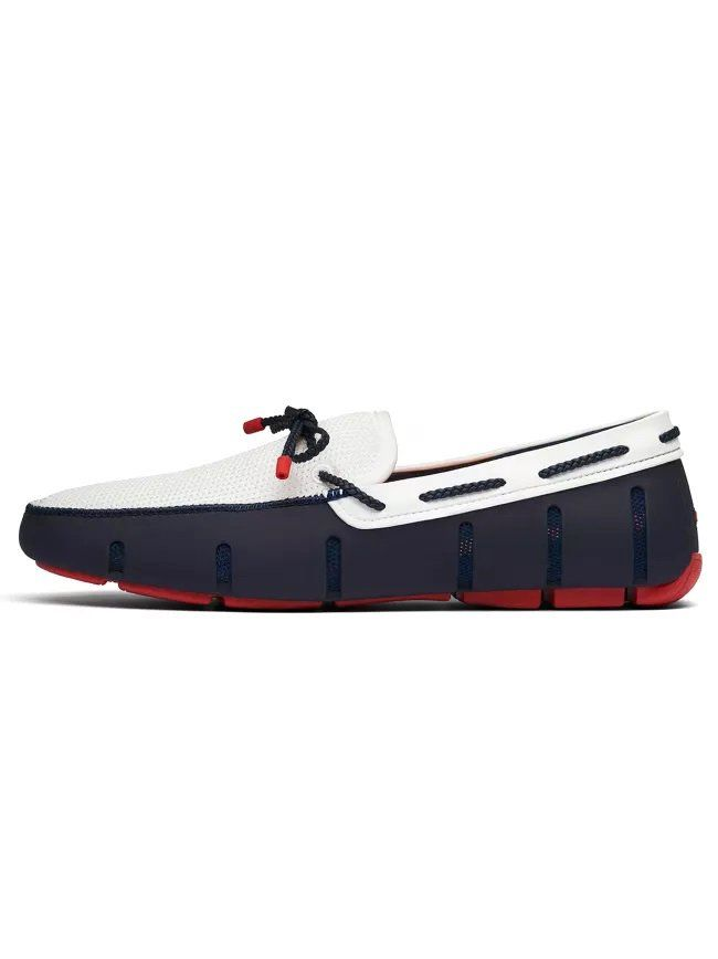 Navy Blue, White & Red Braided Lace Loafer