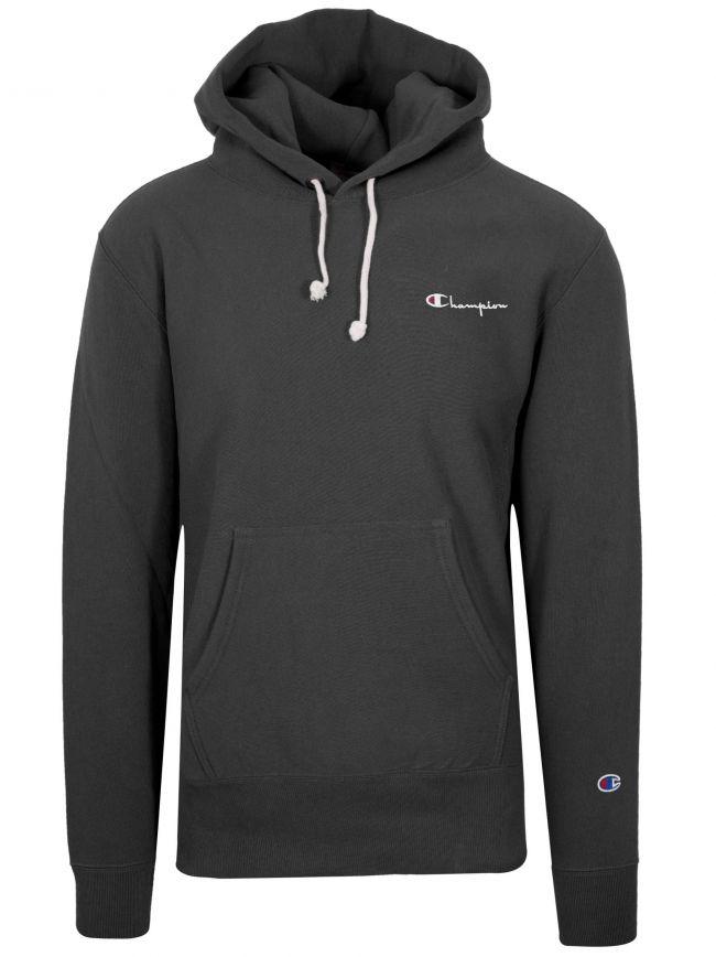 Reverse Weave Black Hooded Sweatshirt