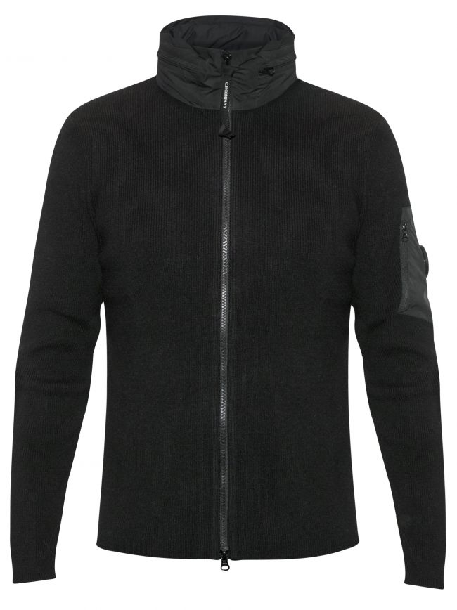Concealable Hood Lens Black Knit Jacket