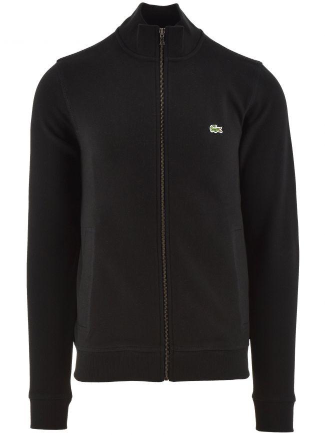 Zippered Stand Up Collar Piqué Fleece Jacket