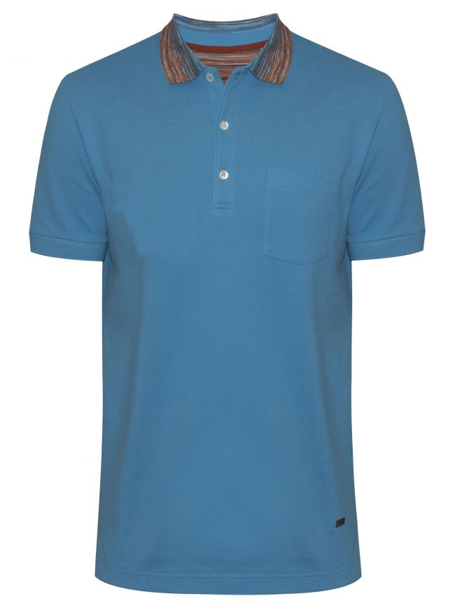 Aqua Blue Contrast Collar Polo Shirt