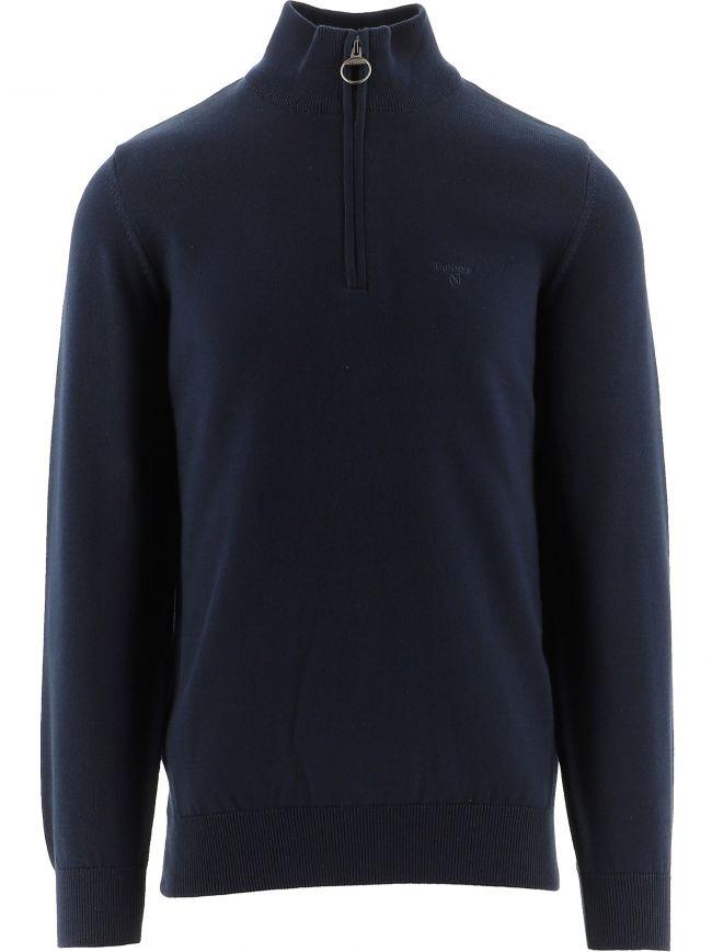 Navy Cotton Half-Zip Sweatshirt