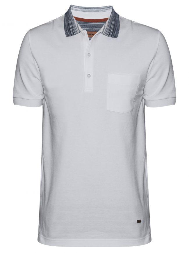 White Contrast Collar Polo Shirt
