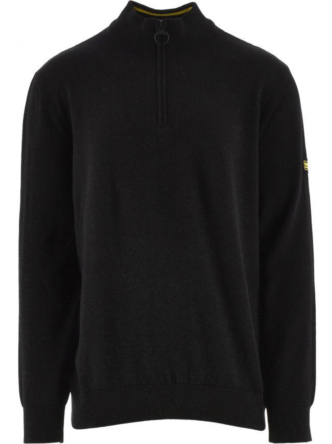 Black Cotton Half-Zip Sweatshirt