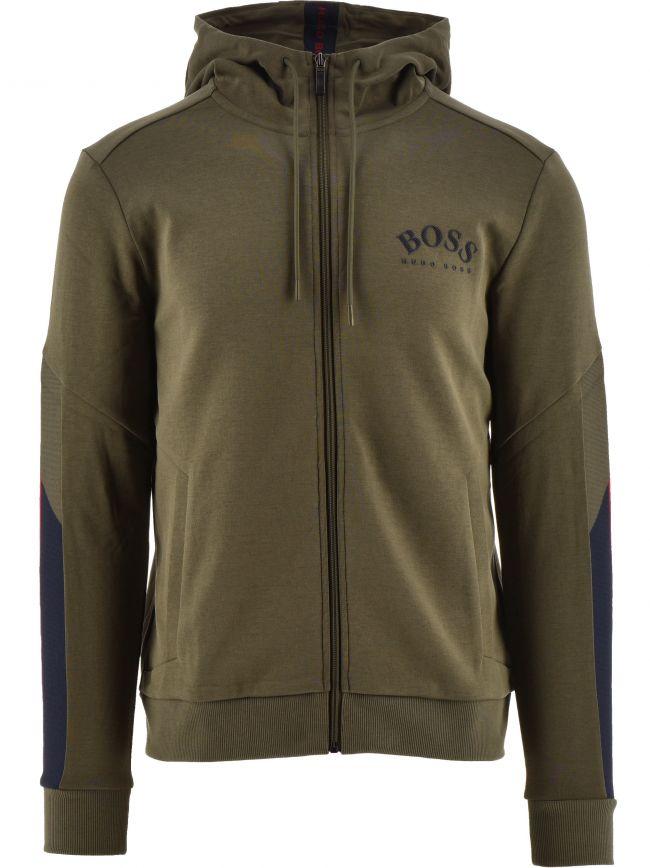 Dark Green Saggy Zip Hooded Sweatshirt