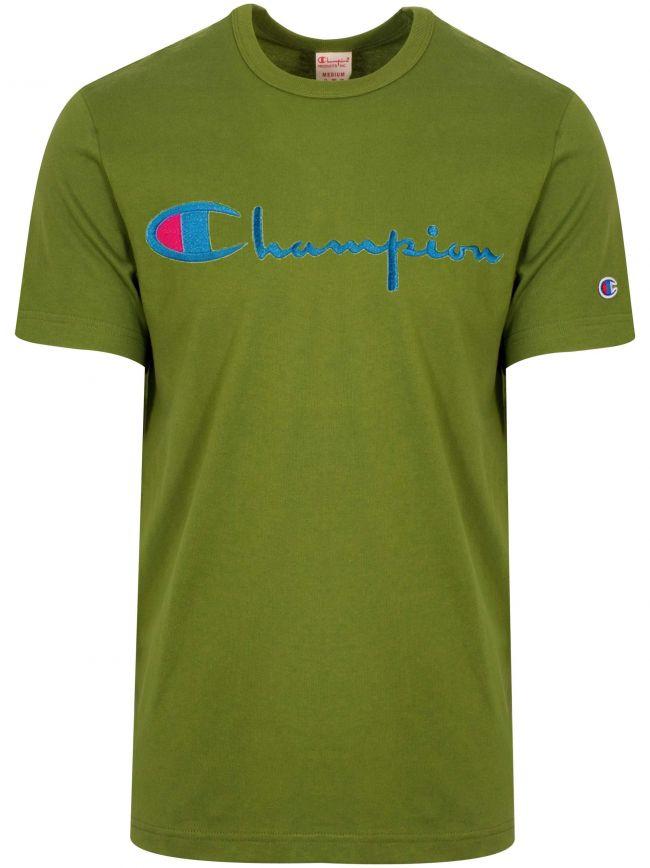 Reverse Weave Green Big Script T-Shirt