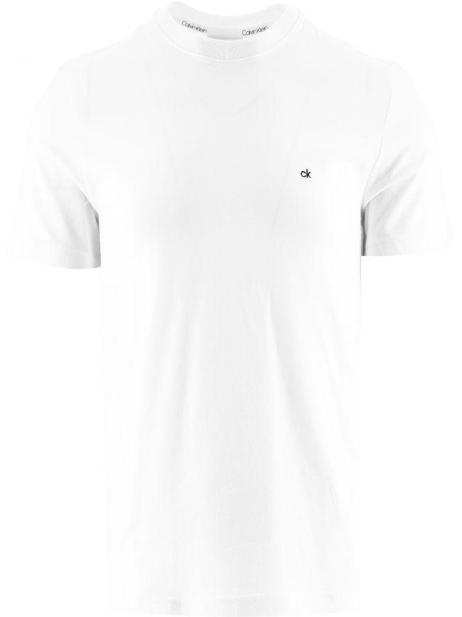 White Cotton Embroidered Logo T-Shirt