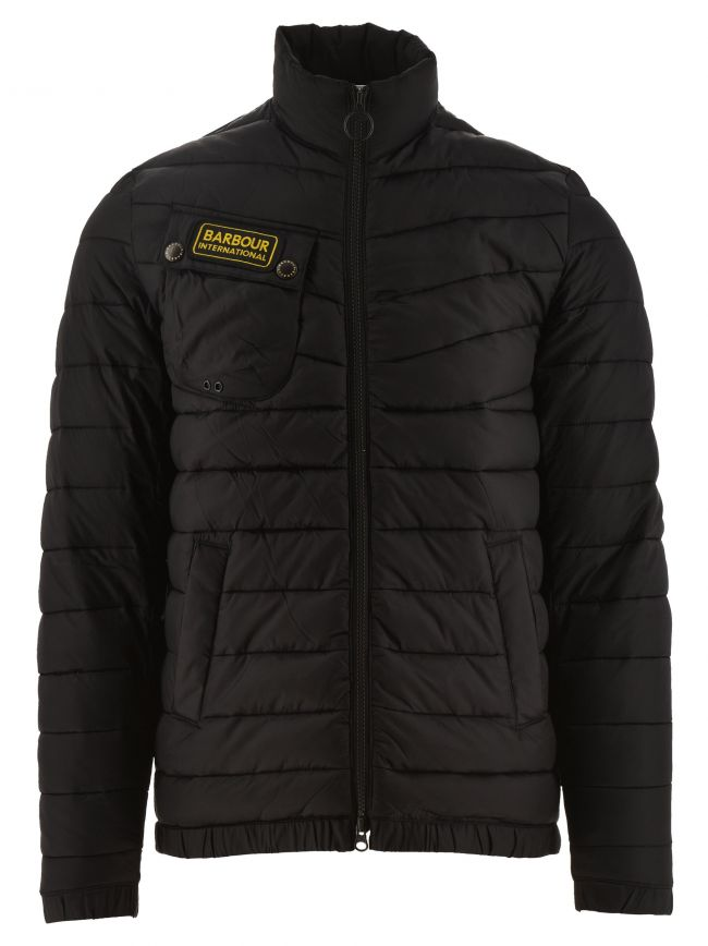 Black Chain Baffle Quilted Jacket