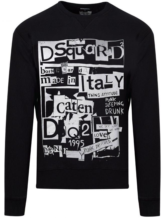 Black Made In Italy Logo Crew Neck Sweatshirt