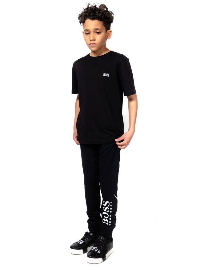 BOSS Kids Black Logo Print Jogging Pant
