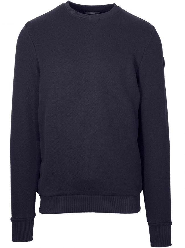 Woven Navy Metal Logo Sweatshirt