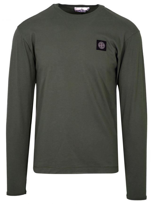 Khaki Green Patch Long Sleeve T-Shirt