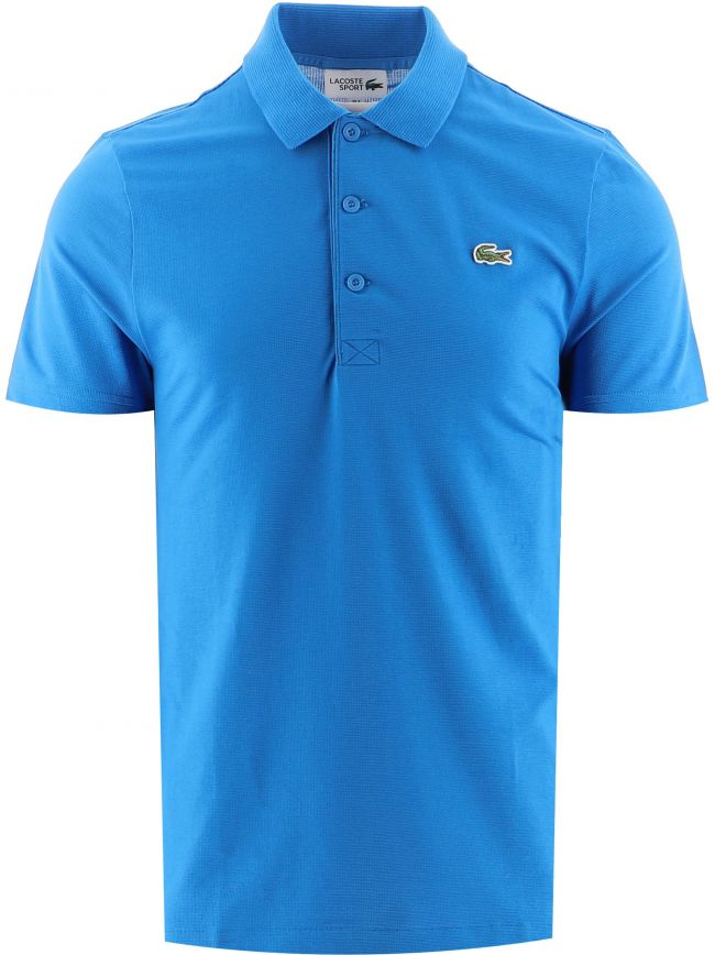 Blue Short Sleeve Ribbed Collar Polo Shirt