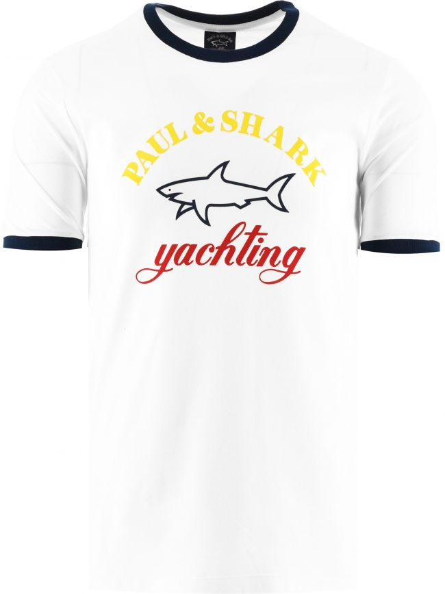 White Three Colour Logo T-Shirt