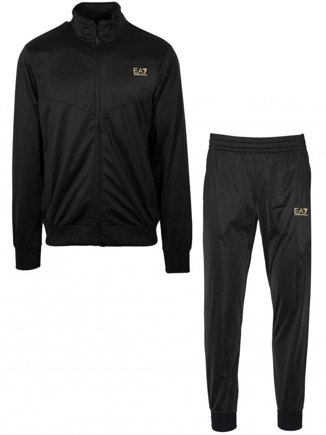 Black & Gold Polyester Tracksuit